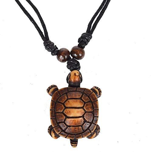 Styles Ethnic Tribal Faux Yak Bone Sea Turtle Pendants Necklace Resin Adjustable Lucky Black String Necklace Makrame Longevity