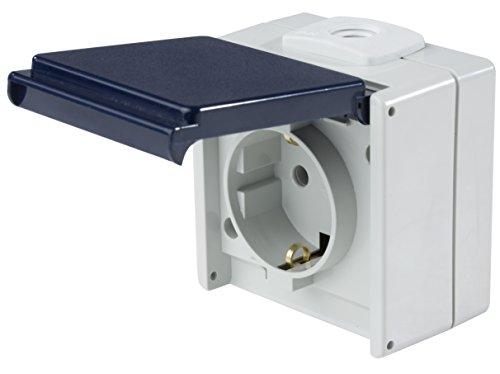 as - Schwabe Aufputz Steckdose 1-fach mit 2 Leitungseinführungen für Feucht-Raum und Außen-Bereich IP54 – hellgrau / blau – Made in Germany I 62460