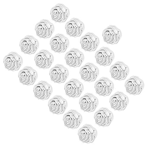 Flor Artificial, Mini Cabeça de Flor para Artesanato DIY para Decoração de Casa(Puro branco V254 prata quente)