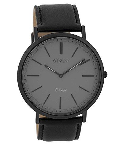 Oozoo Vintage Herrenuhr Lederband 44 MM Black/Grau/Schwarz C9350