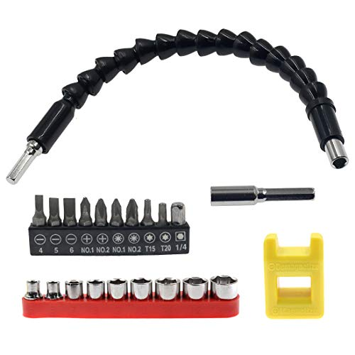 Tiolnlian - Juego de 22 brocas de destornillador flexible, soporte magnético para puntas de eje para chasis de computadora/armarios eléctricos/muebles