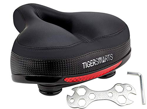 TIGERSMARTS Bike Seat Replacement Padded Comfortable Bicycle Seat with Shock Absorbing Springs- Best Bike Saddle Cushion for Bicycles and Bikes-Improves Riding Comfort (Black/Black)