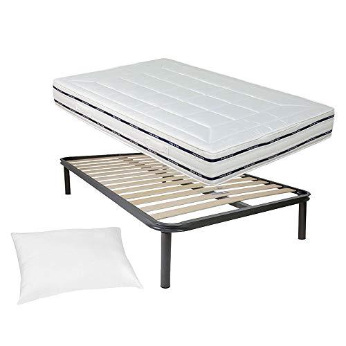 Kit rete e materasso una piazza e mezza 120x190 FINLANDIA più cuscino Top Sleep in regalo, rete una piazza e mezza 14 doghe 120x190 ortopedica con materasso memory alto 22cm