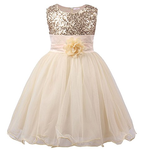 SwissWell Kinder Kleid für Mädchen mit Blume Ärmellos Hochzeits Festzug Stickerei Prinzessin Kleider Festkleid Abschlussball Ballkleid Beige 120-130cm