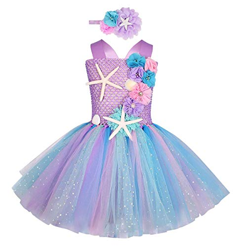 Disfraz de Sirena Niña Vestido Princesa Ariel Fuera del Hombro Sin Mangas...