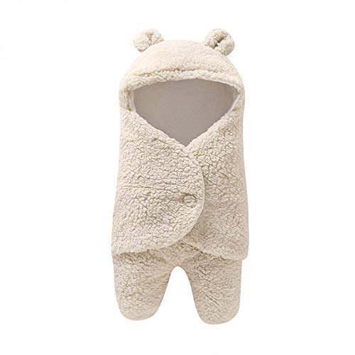 Neutral Swaddle Blanket Baby Sleeping Bag 0-6 Months Baby Products, Bubble Velvet, Autumn And Winter Out, Baby Blanket@Beige Child Comfort Quilt