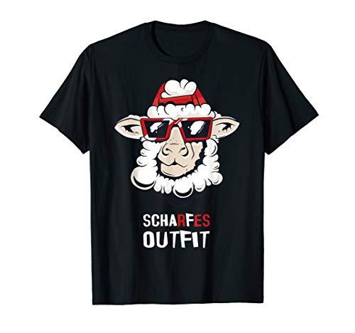 Scharfes Outfit Schaf mit roter Brille und Kappe T-Shirt