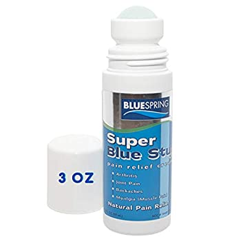 Super Blue Stuff Natural Pain Relief roll on with Emu Oil by BlueSpring- Pain relief rub Anti Inflammatory Analgesic Cream for Back Knee Joint Muscle Arthritis and neck Pain Relief- 3 Oz roll-on.