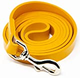 Logical Leather 5 Foot Dog Leash - Best for Training - Heavy Full Grain Leather Lead - Yellow