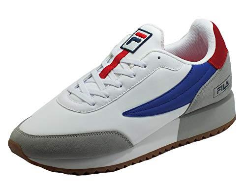 Fila Retronique White Gray Violet - Zapatillas deportivas para hombre, nobuck, tela gris, rojo, blanco y azul Multicolor Size: 44 EU