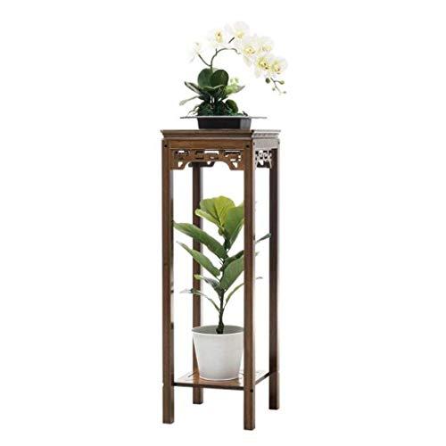 NBVCX Decoración de Muebles Escalera de Planta Mesa Auxiliar de Madera Diseño Chino Tallado Estante de Flores de 2 Niveles Estante de exhibición Soporte para macetas (Tamaño: L)