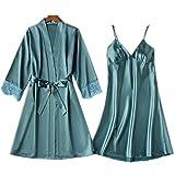 Kimono - Albornoz de satén corto para mujer, sexy, vestido de noche, estampado floral, suave, boda, talla asiática Robe Set A Blue L