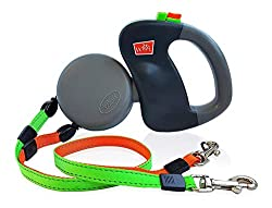 commercial WIGZI (2) Reflective retractable leash for two dogs – 360 degree patent without entanglement – two dogs… double dog leash