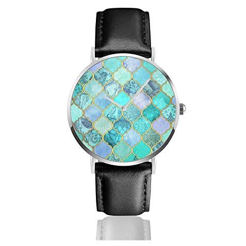 Cool Jade & ICY Mint decorativo marroquí azulejo patrón clásico casual reloj de cuarzo acero inoxidable correa de cuero negro relojes de pulsera