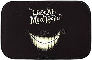 Fashion We're All Mad Here Funny Doormat Alice In Wonderland Entrance Door Mat Indoor Bathroom Floor Rugs Non-Slip Soft Sh...