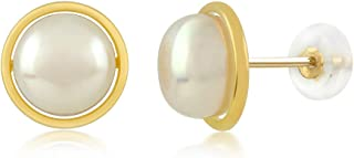 14K Yellow Gold 8MM White Button Shape Cultured Freshwater Pearl Stud Earrings