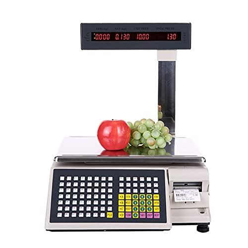 HXXXIN Caja Registradora Impresión De Etiquetas De Código De Barras Báscula Electrónica Pesaje De Supermercado Báscula De Precio Digital LCD Digital Comercial Comida Carne Báscula,15kg/5g