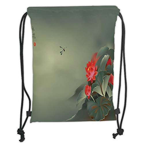 Fevthmii Drawstring Backpacks Bags,Dragonfly,Traditional Japanese Painting with Lotus Blooms in Hazy Tones Asian Design Decorative,Red Reseda Green Soft Satin,5 Liter Capacity,Adjustable St