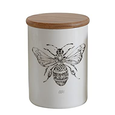 Creative Co-Op DA5725 White Stoneware Jar with Bee Image and Bamboo Lid