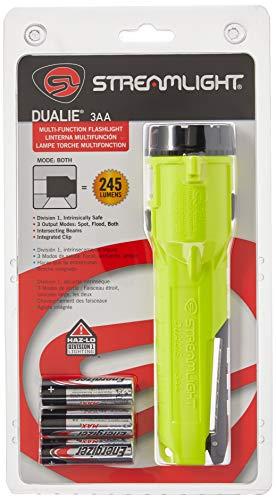 "Streamlight 68750 Dualie 3AA 140-Lumen Dual Function Intrinsically Safe AA Battery Flashlight, Yellow – With 3 ""AA"" Alkaline Batteries"