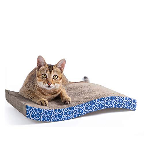 Price comparison product image Karaseno Cat Scratch Pad,  Cat Scratcher Cardboard,  Cat Scratching Pad,  Corrugated Cat Scratcher,  Unique Double Texture Surface Durable Design,  Wave Curved Shape,  Reversible,  with 100% Organic Catnip