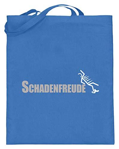 Schadenfreude - Freude, Boshaft, Missgeschick, Unglück, Freunde, Spott, Spöttisch, Lachen - Jutebeutel (mit langen Henkeln) -38cm-42cm-Blau