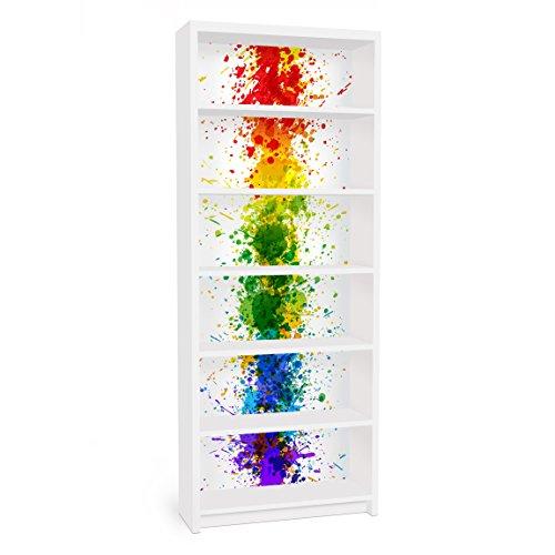Apalis Vinilo Adhesivo para Muebles IKEA - Billy Bookshelf - Rainbow Splatter, Größe:2 Mal 94cm x 76cm