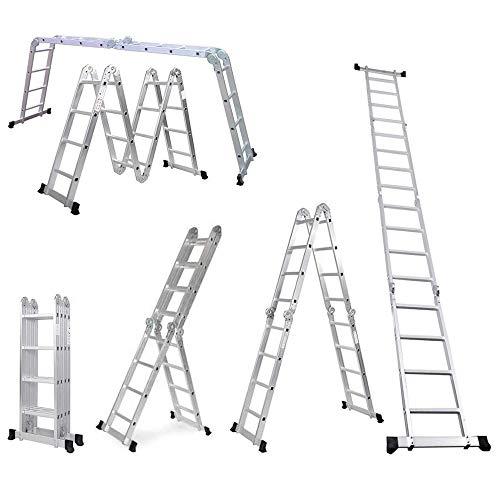 Escalera Plegable de Aluminio 4,71 m, Escalera Multifunción 4x4, 16 Peldaños, Carga Máxima 150 kg