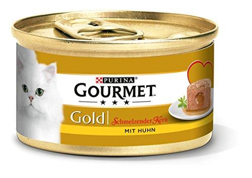 Purina Gourmet Gold Smeltende Kern Kattenvoer, Gehydrateerd, voor Volwassen Katten, 12 Stuks Verpakking (12 x 85 g)