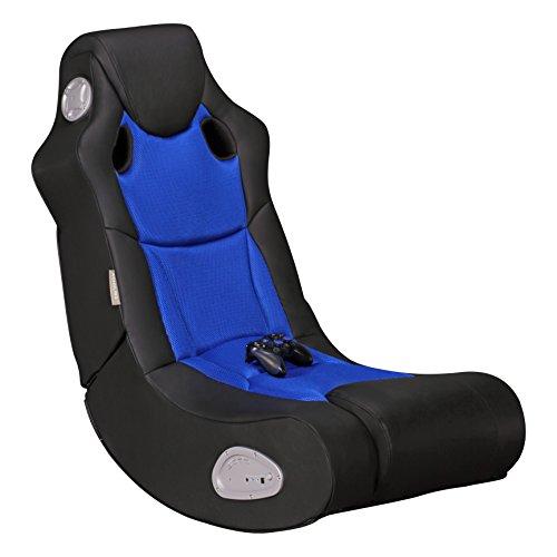 Wohnling Soundchair Booster in Schwarz Blau mit Bluetooth eingebauten Lautsprechern | Multimediasessel für Gamer | Musiksessel 2.1 Soundsystem-Subwoofer | Music Rocker, Lederimitat, 100x56x82cm