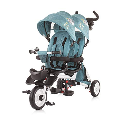 Chipolino Tricycle Tricycle 2Fun pour Jumeaux, Pliable, Guidon, Roues Caoutchouc, Coloris:Turquoise