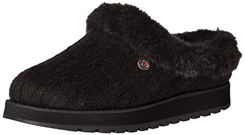 Skechers Damen Keepsakes - Ice Angel Flache Hausschuhe, Schwarz (Black Cable Knit Sweater/Faux Fur Trim BBK), 38 EU
