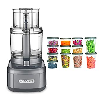 Cuisinart FP-11GM Elemental 11-Cup Food Processor  Gunmetal  with Storage Containers Bundle  2 Items