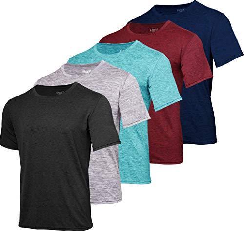 Men's Quick Dry Fit Dri-Fit Short Sleeve Active Wear Training Athletic Essentials Crew T-Shirt Fitness Gym Workout Casual Undershirt Top - 5 Pack,Set 1-XL