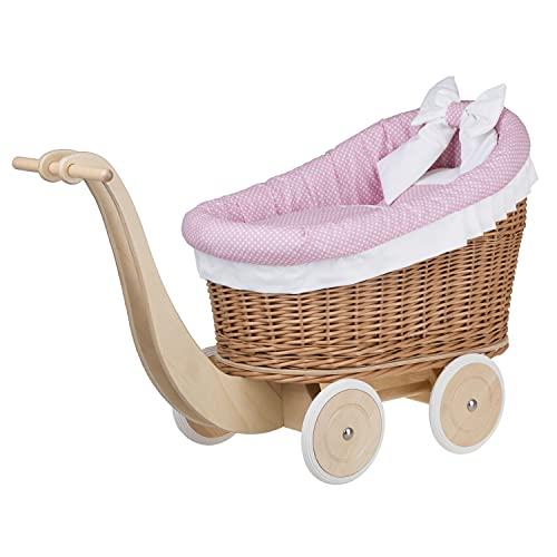 e-wicker24 Un carrito, una cama para muñecas de mimbre, juguete de mimbre.