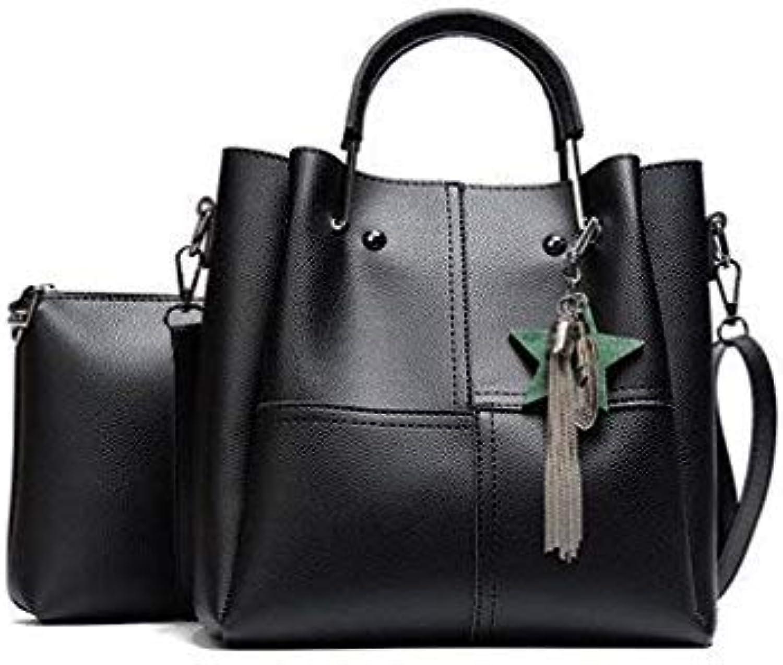 Bloomerang Female Handbag Drop Shipping Patchwork Women Shoulder Bags Pu Leather 2pcs Composite Bag Famous Designer Brand Tassel Bag color Black 25x10x26cm