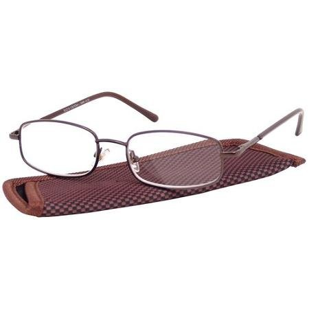 Foster Grant Eyesential Men's Brown Metal Oval Readers with Case +1.50 by Eyesential