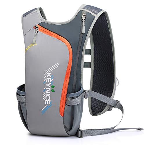 超軽量 KEYNICE ランニングバッグ マラソンリュック デイパック 防水 光反射 5Lハイドレーション収納可 通気 アウトドア 登山 レース 遠足 リュックサック 8L (グレー)