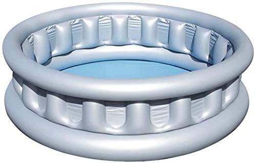 Mopoq Platillo Volante PVC Inflable Piscina Redonda de Tres cámaras Piscina 152 × 43cm Gran Jardín Piscina del Juego Ocean Pool