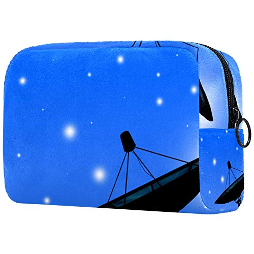 Bolsa de maquillaje portátil con diseño de antena parabólica, bolsa de cosméticos, bolsa de viaje para mujer