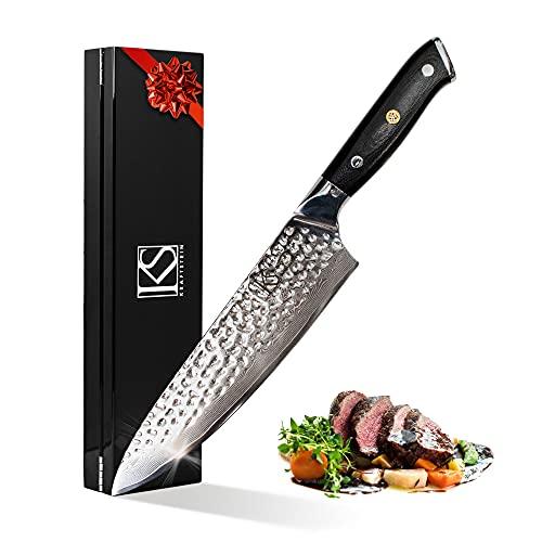 Cuchillo de cocina profesional de damasco, cuchillo de cocina japonés con mango G10, hoja extra afilada, cuchillo multiusos, 34 cm con mango ergonómico, calidad prémium para casa y restaurante