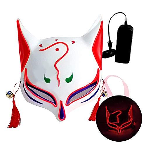Glowing Fox Drift Maske,Fox Mask Halbgesichtsbedeckte 3D-Maske Fox Gesichtsmaske mit Quasten Glöckchen für Party Cosplay Halloween Kostüm Requisiten