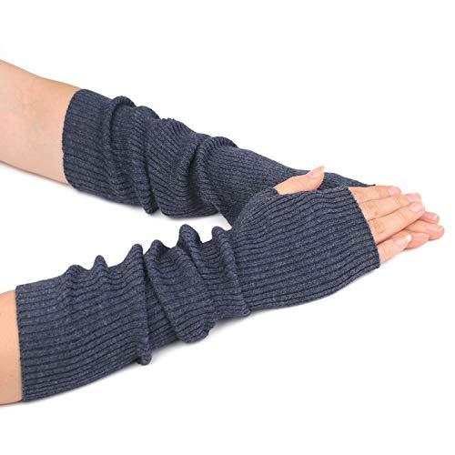 Flammi Women's Knit Arm Warmer Gloves Warm Cashmere Long Fingerless Mittens with Thumb Hole (Dark Grey)