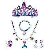 MTRSUE Crown Little Mermaid decoraciones de Fiesta,Suministros de Decoración de Cumpleaños de Sirena,Juego de Vestir de Princesa Sirena para Fiesta