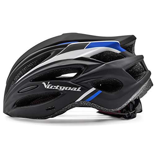 VICTGOAL Fahrradhelm, MTB Mountainbike Helm für Erwachsene, Verstellbarer Mountain- und Rennradhelm Leichter Fahrradhelm für Herren Damen 57-61 cm, mit Abnehmbarer Visier (Schwarz Blau)