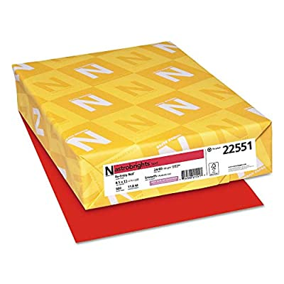 Neenah Paper 22551 Color Paper, 24lb, 8 1/2 x 11, Re-Entry Red, 500 Sheets