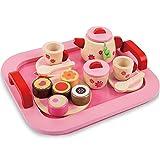 Arkmiido Teeservice Spielzeug aus Holz, Zubehör für die Kinderküche, Teeservice Kinder, 18-TLG., ab 3 Jahre, rosa