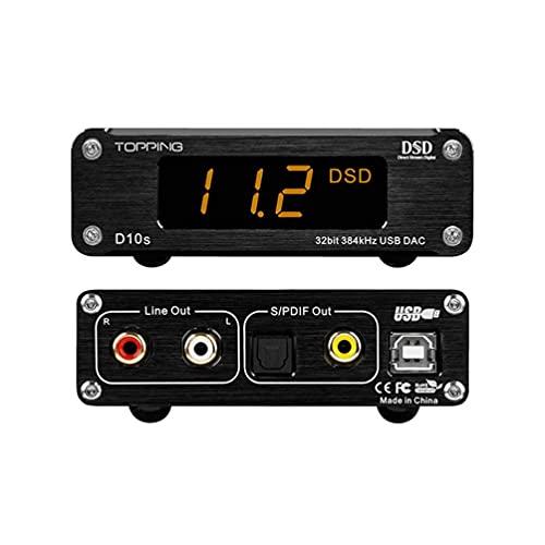 TOPPING D10s USB DAC 384kHz ES9038Q2M XMOS XU208 Mini Desktop HiFi Audio DAC Decoder (Nero)