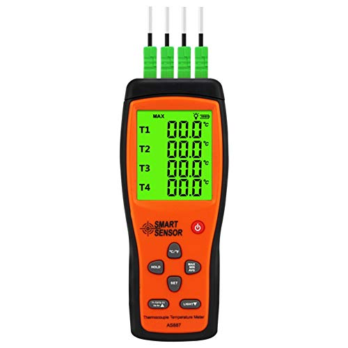 RONSHIN SmartSensor K-type Thermocouple Thermometer 4 Channel Digital Temperature Sensor Probe High Accuracy