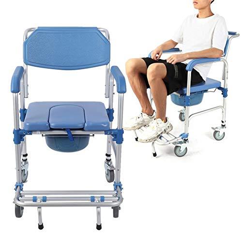 LYF STOOLS Draagbare Opvouwbare Commode Draagbare Wc-bril, Transportstoel Rolstoel Voor Toilet Met Wielen & Pedaal, Extra Brede Commode Stoel, Blauw